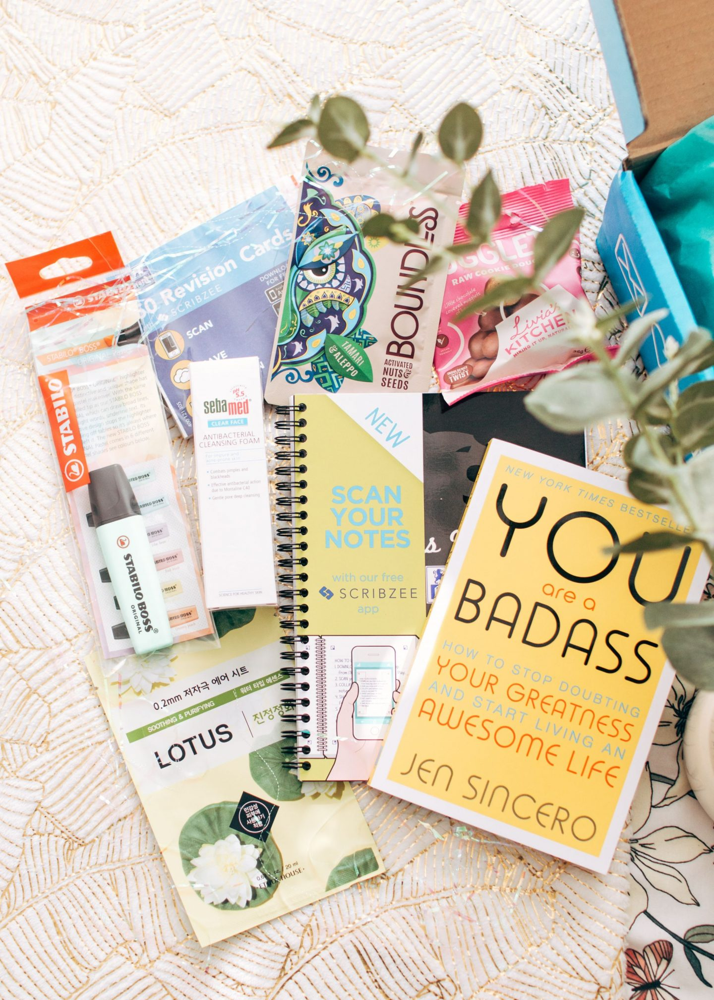 forever september, the unibox march edition, exam season, university, the unibox, subscription box, skincare, stationery, food, snacks, livia's kitchen, boundless seeds, revision cards, notebook, face mask, you are a badass, book, flatlay